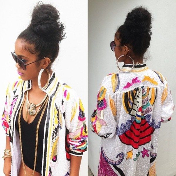 jacket clothes colorful Black and beautiful bodysuit jewels