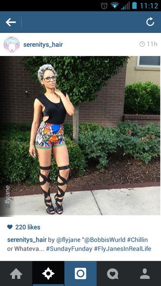 tribal pattern ethnic pattern high waisted shorts shoes knee length gladiators heels open toe high heels