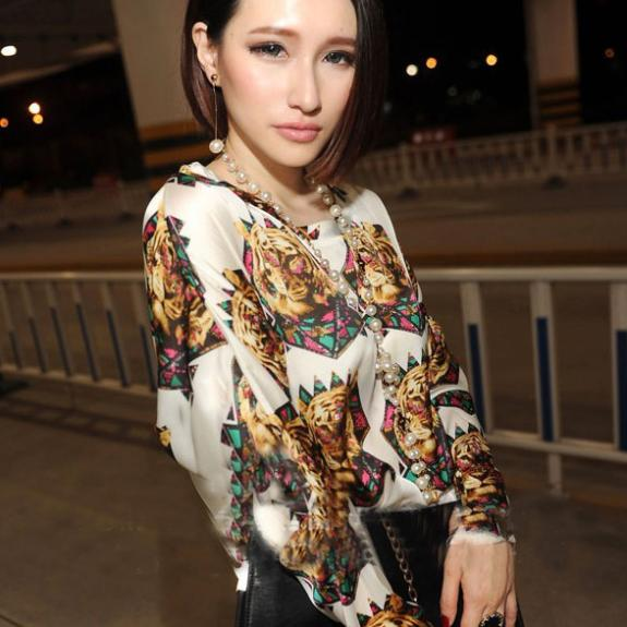 New Arrival Women's Girl Loose Retro Tiger Print Long Sleeve Blouse Shirt Tops Free Size #L034771-in Blouses & Shirts from Apparel & Accessories on Aliexpress.com