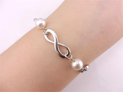 bangle infinity antique silver four karma and pearl bracelet friendship gift | eBay