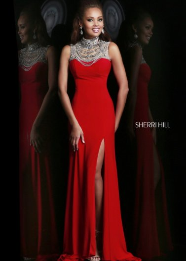 Red Sequin High Neck Slit Open Back Jersey Evening Gown by Sherri Hill [Sherri Hill 21355 Red] - $298.00 : Prom Dresses 2014 Sale, 70% off Dresses for Prom