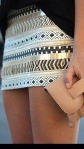 Zara Aztec Cream Gold Sequin Beaded Embroidered Mini Short Skirt XSmall BNWT | eBay