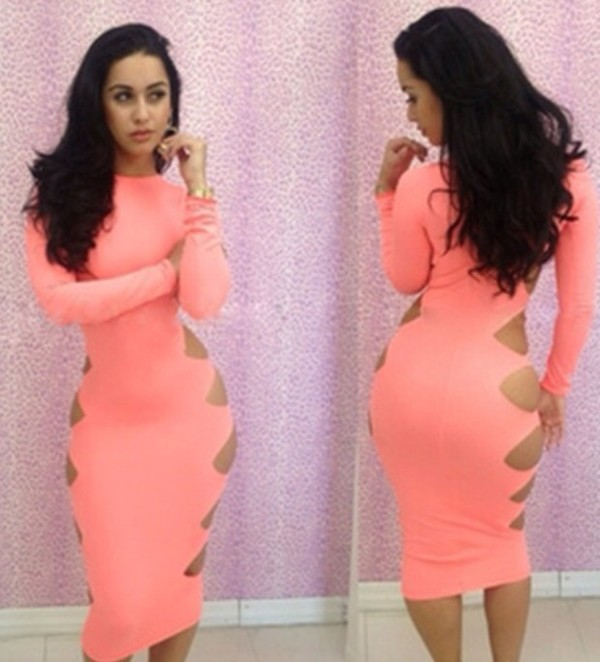 dress bodycon dress tight pink sexy cut-out dress
