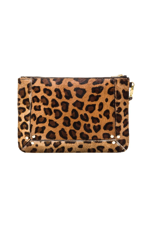 Elliott Label Clutch In Leopard in Leopard   REVOLVE