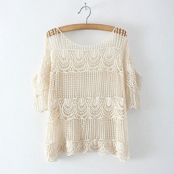 top boho boho chic indie crochet cream t-shirt shirt cute summer outfits