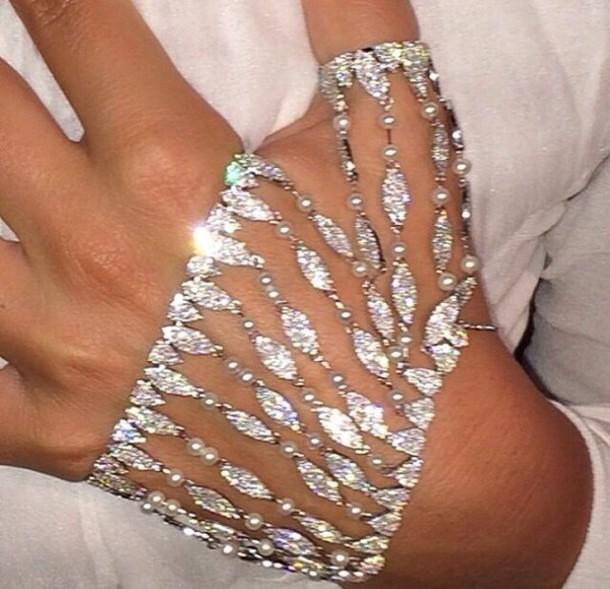 jewels bracelets silver bracelet shiny diamonds hand jewelry