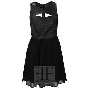 Womens Sleeveless Wetlook Front CUT OUT Back ZIP Chiffon Skater Franki Dress | eBay