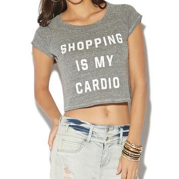 Shopping Is My Cardio Crop Tee | Wet Seal on Wanelo