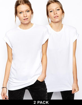 ASOS   ASOS Boyfriend T-Shirt with Roll Sleeve 2 Pack SAVE 20% at ASOS