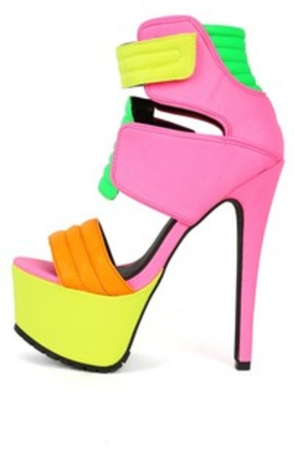 shoes neon sandals shoes neon high heels platform shoes