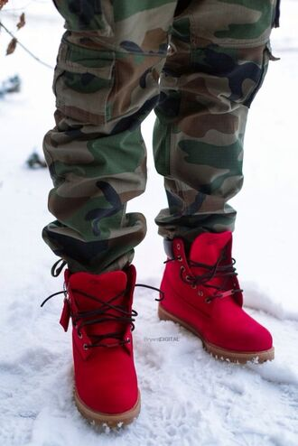 shoes mens cargo pants mens boots timberlands boots red jeans red timberlands camo pants red boots mens shoes winter boots