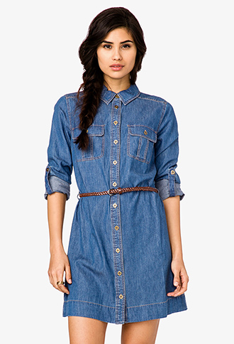 Denim Shirt Dress w/ Belt | FOREVER21 - 2021839323