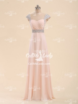 Pink chiffon long prom dress/ formal evening dresses with beading straps - CallMeLady