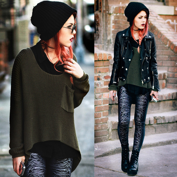 sweater clothes knitwear leggings pants boots shoes jacket biker jacket hat fashion