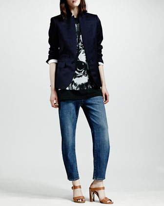 Stella McCartney Stand-Collar One-Button Blazer, Lion-Print Sleeveless Tee & Zip-Ankle Boyfriend Jeans - Neiman Marcus
