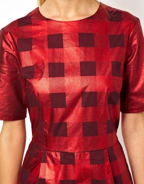 ASOS | ASOS Metallic Check Shift Dress at ASOS