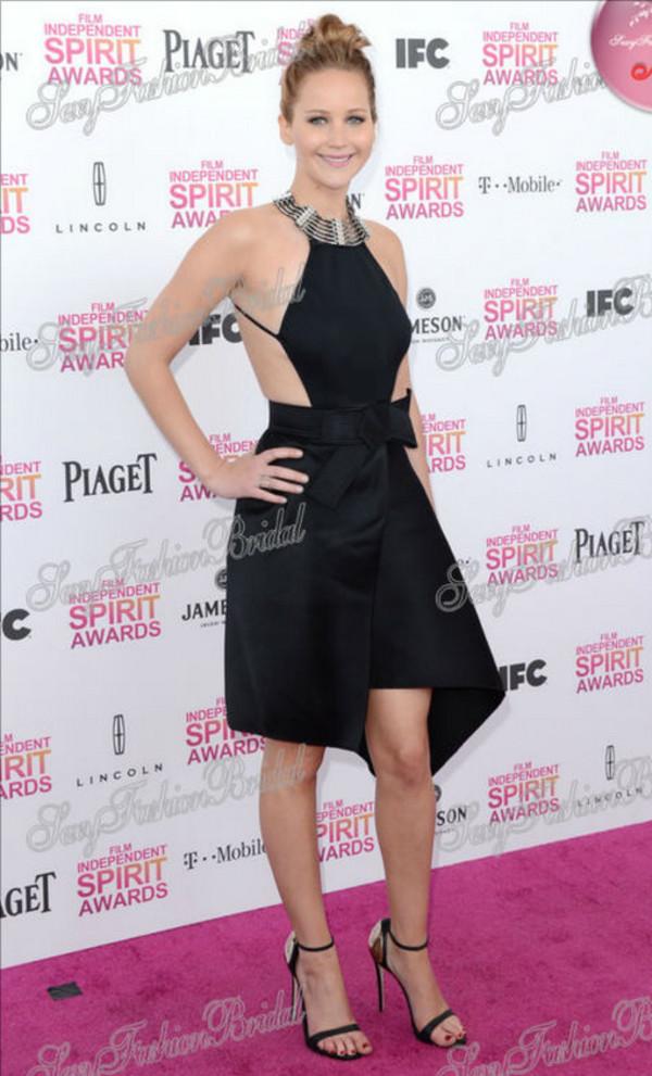 dress jennifer lawrence sexy knee length little black dress celebrity style
