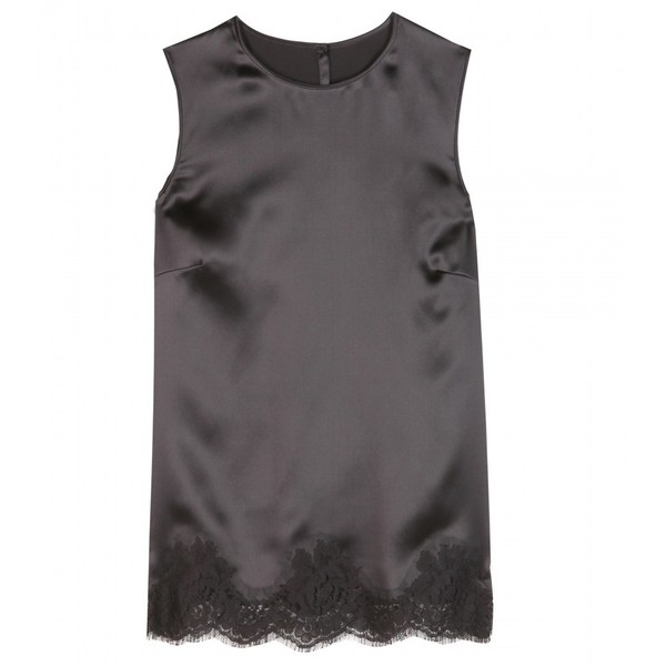 Dolce & Gabbana Lace-Trimmed Silk-Blend Top - Polyvore