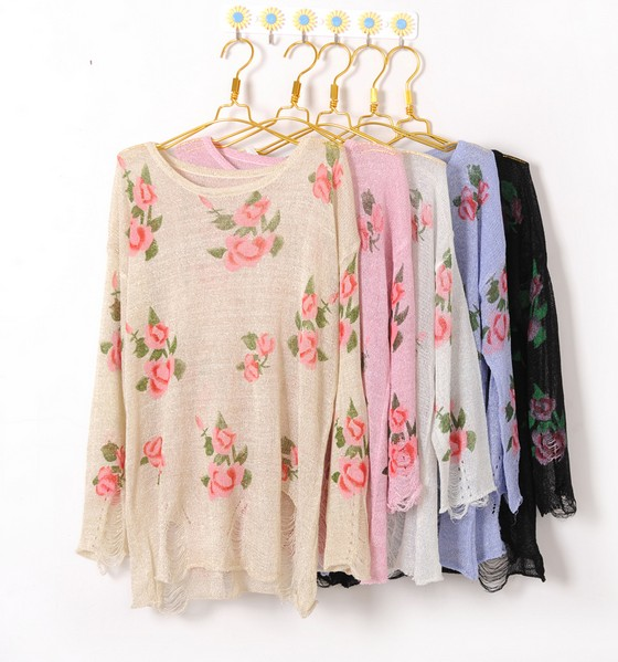 Christmas Knitwear Women Fashion Vintage Rose Flower Hollow Holes Sweater Top Shirt  on Luulla