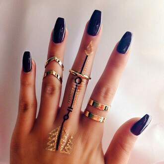 jewels jewelry temporary tattoo ring gold party make up nails accessories gold ring hand jewelry knuckle ring mid rings ring set boho jewelry nail accessories pretty bagues rings cute summer rings and tings rings and jewelry tattoo fake tattoos