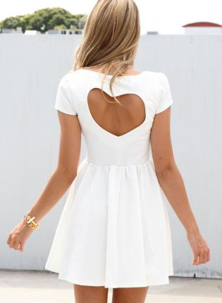 White Party Dress - White Heart Cutout Dress with | UsTrendy