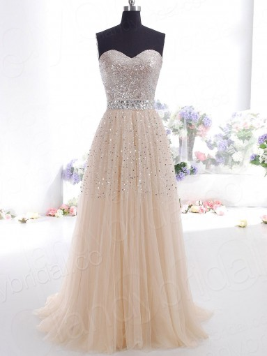Sheath Column Sweetheart Sweep Train Tulle Champagne Evening Dress Pelbpr2666 for $343