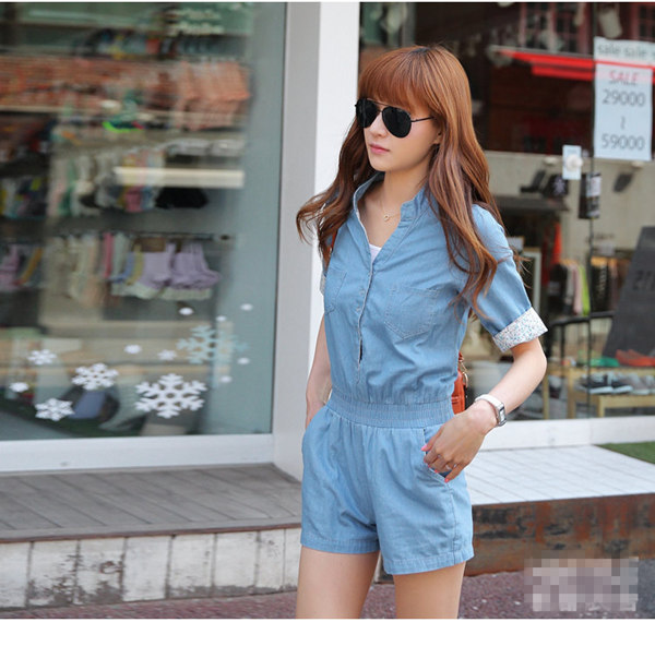 Brand New Women Denim Jumpsuit  Light Blue,  Water Wash One Piece Overall Shorts Jeans Jumpsuits  #JM06115   HOT-inJumpsuits & Rompers from Apparel & Accessories on Aliexpress.com