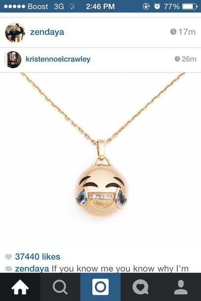 jewels emoji print necklace
