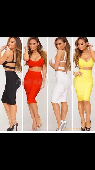 red dress bandage dress bandage skirt high waisted skirt two-piece bandage top bodycon dress blouse