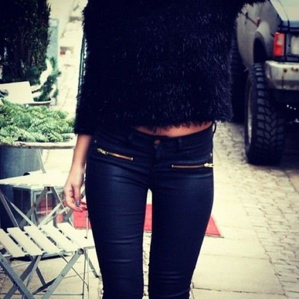 jeans clothes blogger zip shirt pants pants cute black zip gold jeans black zipper sweater