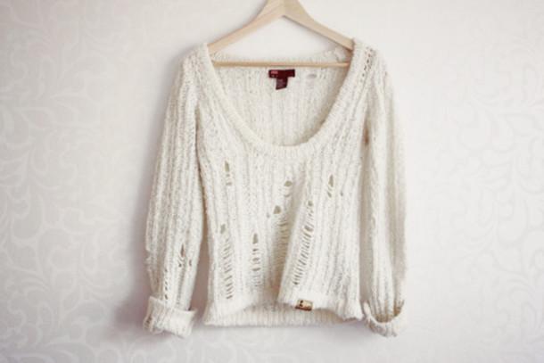sweater white sweater white shirt knitted sweater white tumblr cardigan holey sweater summer