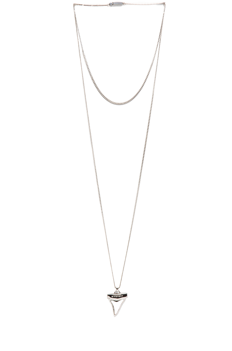 GIVENCHY|Small Shark Tooth Brass Necklace in Black & Silver