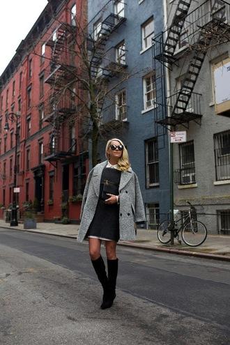 atlantic pacific blogger shoes sweater dress sunglasses coat bag grey knit dress mini knit dress grey dress mini dress grey coat boots knee high boots