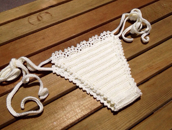 ivory cream crochet bikini bottom summerwear lace by senoAccessory