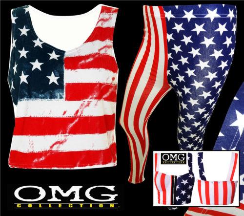 Womens New Ladies American Flag Print Crop Vest Bra Bralet Top leggings Size8-14 | eBay