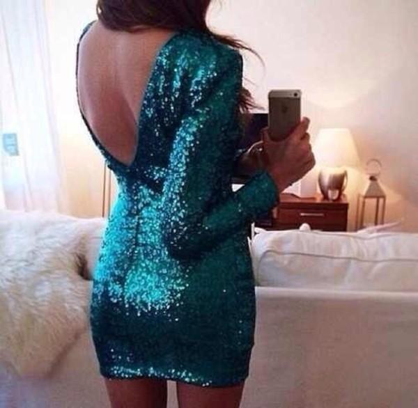 dress open back dresses sparkly dress glitter dress sequin dress green