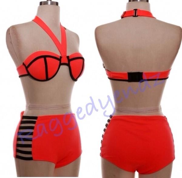 swimwear neon swimwear high waisted bikini