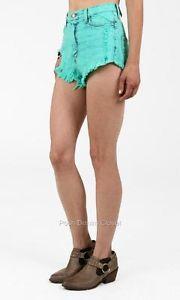 Hanky Panky Mint Green High Waist Acid Wash Denim Cutoff Shorts 205B Mnt | eBay
