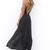Black Longer Lengths Dress - Black Plunging V-Neck Maxi Dress | UsTrendy