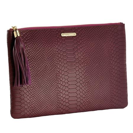 Burgundy Uber Clutch | Embossed Python Leather | GiGi New York