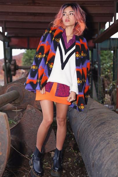 xander vintage blogger sweater skirt jacket native american colorful orange shoes