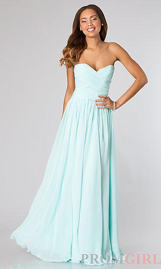 Mori Lee Long Strapless Bridesmaid Dress- PromGirl