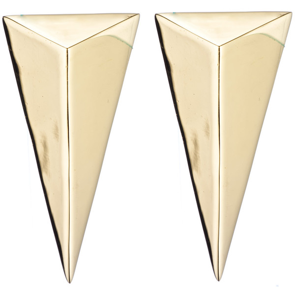 Alexis Bittar Gold Pyramid Post Earring - Polyvore