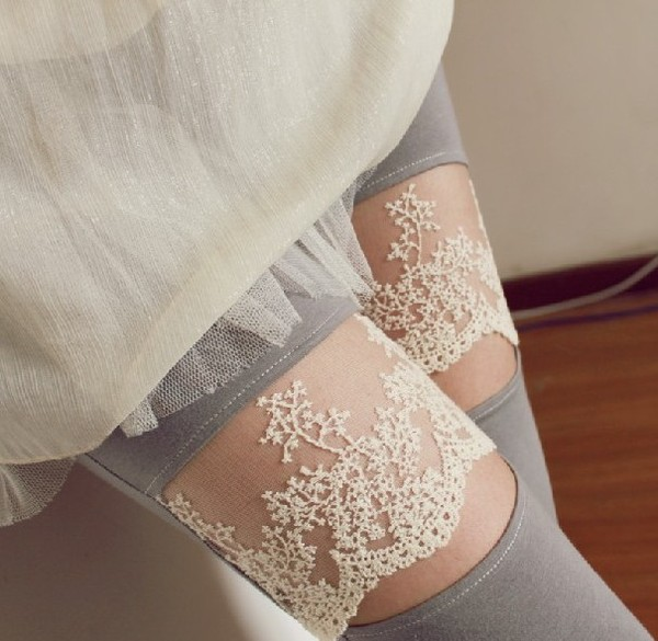 pants lace leggings grey long tights