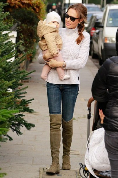 shoes boots knee high boots over the knee boots tamara ecclestone sweater