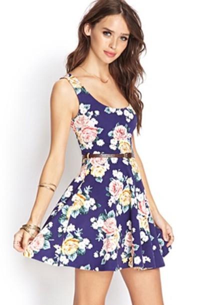 dress dress forever 21 cute dress flowers floral blue belt dress wonderful beautiful lovely dress