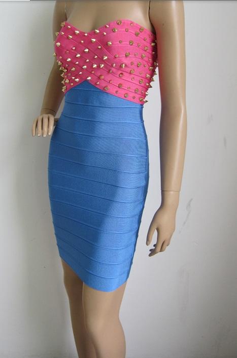 Deja Boutique. Bombshell pink blue stud strapless dress