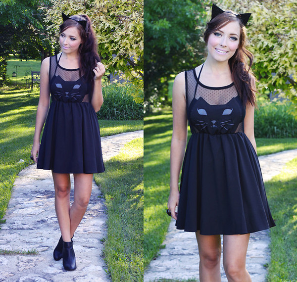 dress romwe black cat face romwe dress