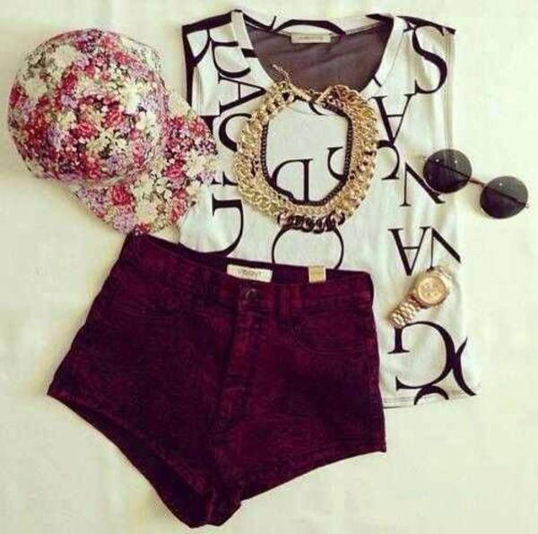 shorts jewels shirt hat jewelry sunglasses