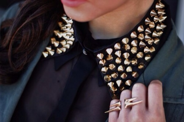 blouse black studs spikes gold